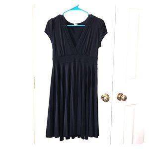 Soprano Little Black Pleated Dress w/ Cap Sleeves
